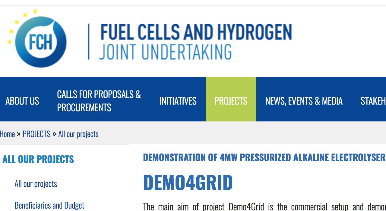 Demonstration of 4MW Pressurized Alkaline Electrolyser for Grid Balancing Services