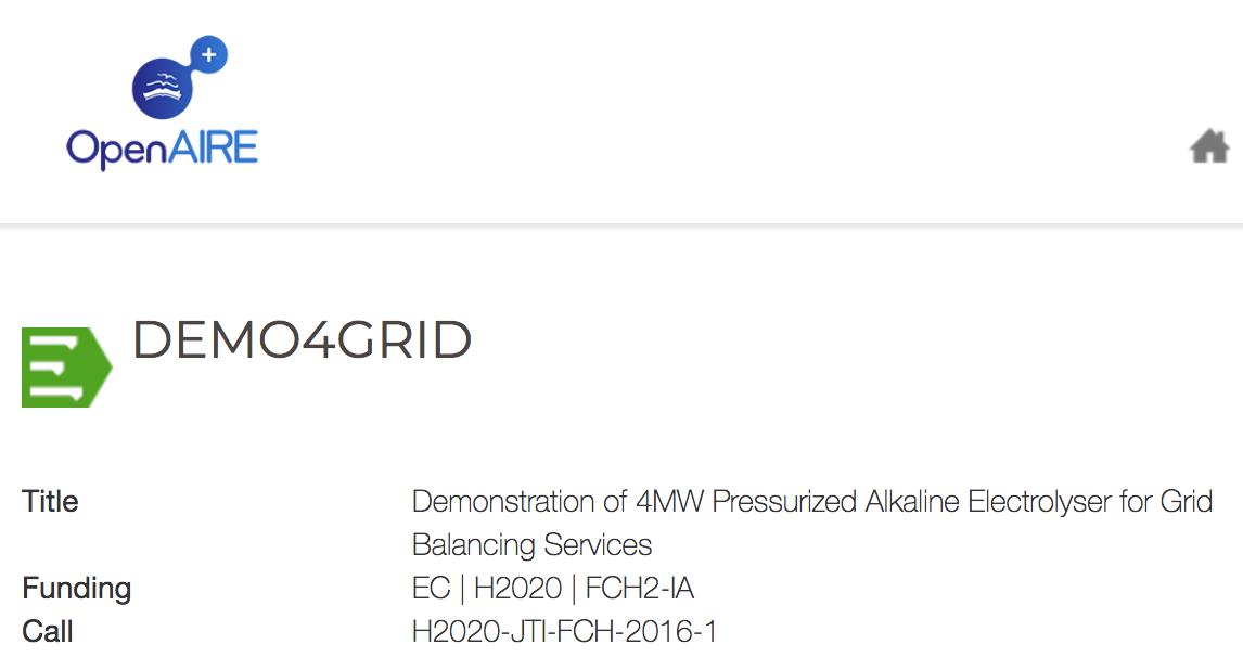 Demo4Grid Demonstration of 4MW Pressurized Alkaline Electrolyser for Grid Balancing Services