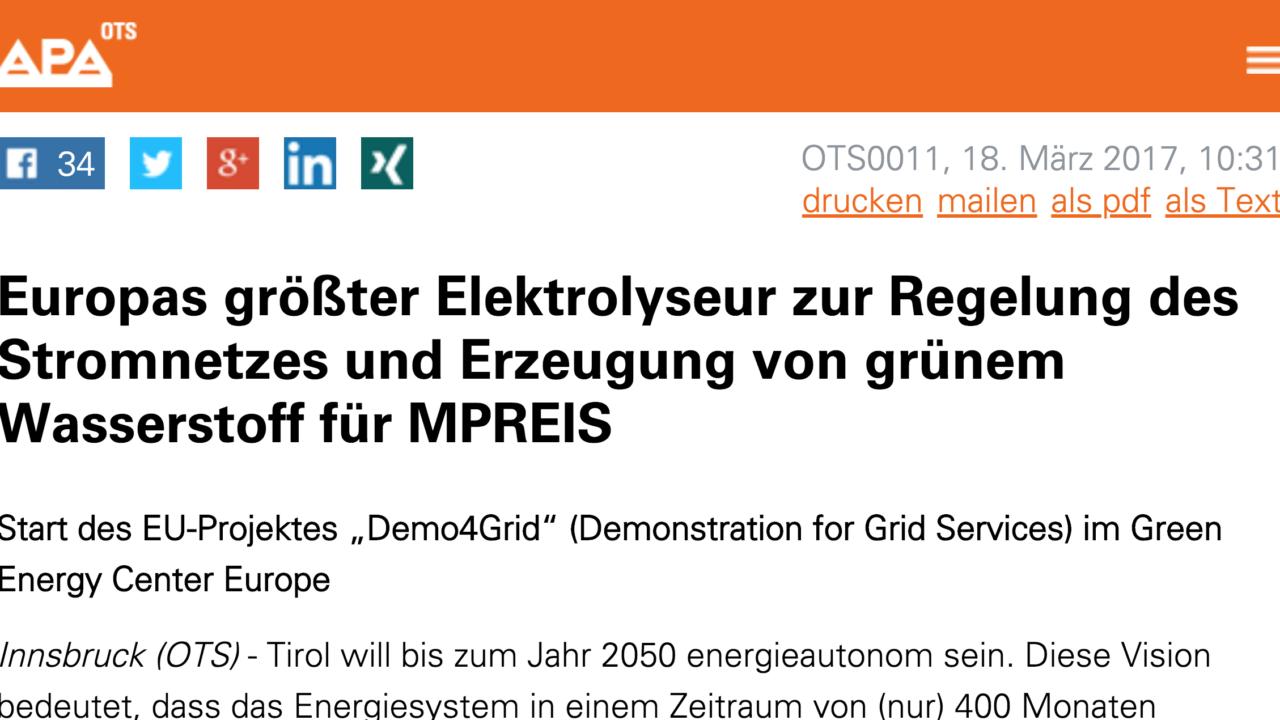 Europas größter Elektrolyseur zur Regelung des Stromnetzes und Erzeugung von grünem Wasserstoff für MPREIS