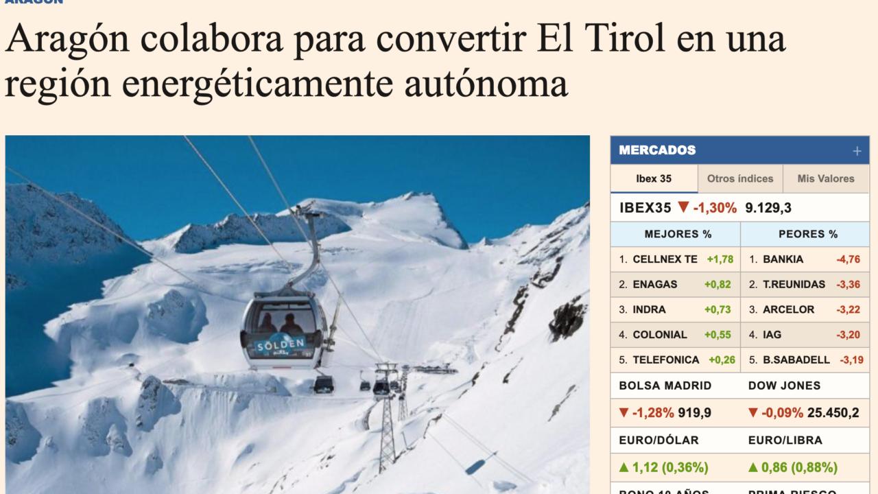 Aragón colabora para convertir El Tirol en una región energéticamente autónoma